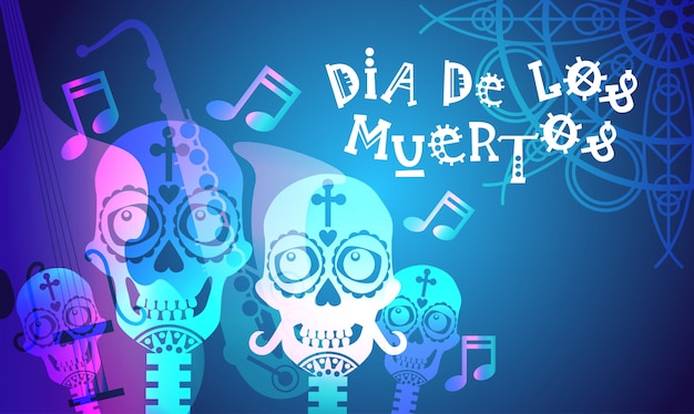 伝統的なメキシコのハロウィーンの日de de los muertosホリデーパーティーデコレーションバナー