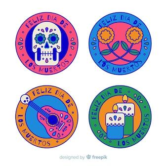 Плоский дизайн коллекции этикеток de de muertos
