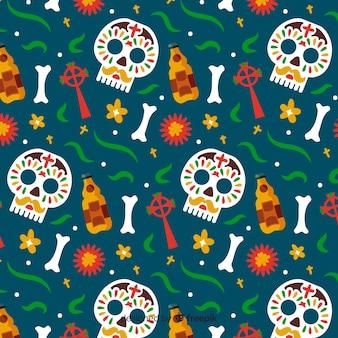 Нарисованный от руки шаблон de muertos на зеленом фоне