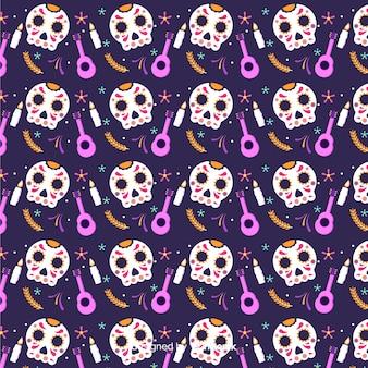 Плоский цвет de muertos черный с рисунком черепов