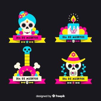 Плоский дизайн этикетки de muertos