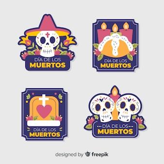 Плоский дизайн коллекции значков de muertos