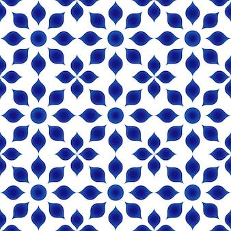 青と白の花柄のインディゴ、磁器の花のシームレスな背景、セラミックタイルde