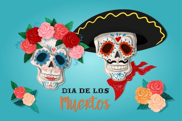 Пригласительный плакат на день мертвой вечеринки. карта dea de los muertos