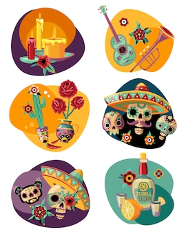 Dead day celebration 6 colorful compositions set with ornamented sugar sculls masks candles tequila