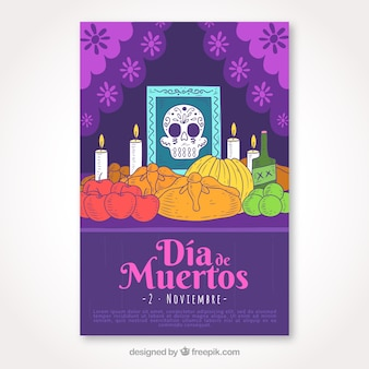 Dead day poster with hand drawn altar