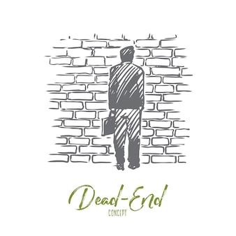 行き止まり、問題、行き詰まり、熟考の概念。手描きの男は、行き止まりのコンセプトスケッチのシンボルであるレンガの壁の前に立っています。