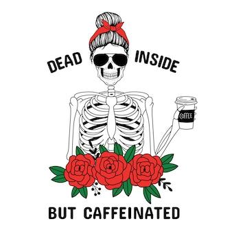 Мертвый внутри, но с кофеином мама на хэллоуин женский череп с банданой в очках-авиаторах