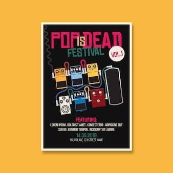 Поп-фестиваль dead music festival flyer