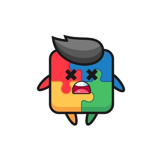 The dead puzzle mascot character , cute style design for t shirt, sticker, logo element