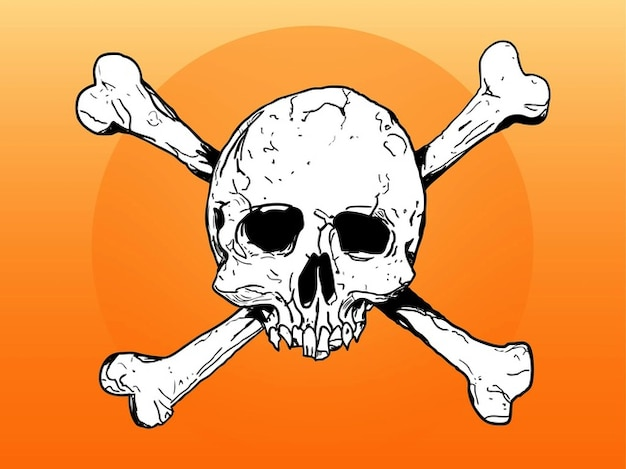 Dead skull and bones sketch vector
