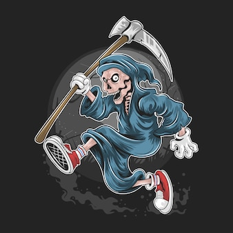 Dead skull grim reaper running with shoes