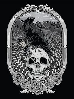 Dead skull with crow and heraldic frame