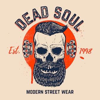 Мертвая душа. бородатый череп на гранж.