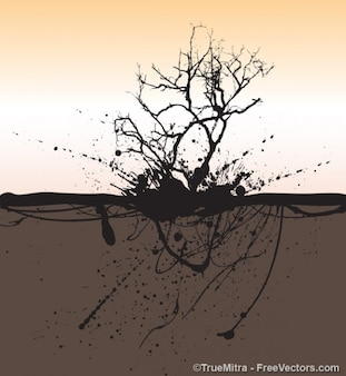 Dead tree with splash grunge background