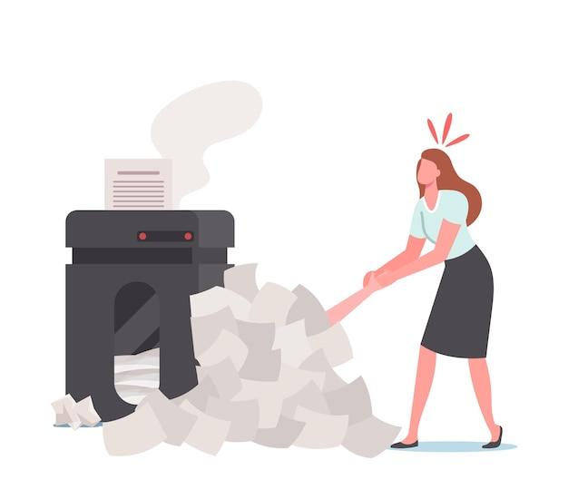 Срок и концепция стресса. женщина вытаскивает офисный мужчина, лежащий под огромной кучей документов и бумажным мусором возле дымящегося принтера. занятая работа, бюрократия, менеджерская работа. мультфильм люди векторные иллюстрации