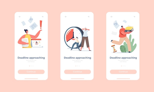 Deadline approaching mobile app page onboard screen template. anxious business characters in chaos office workplace