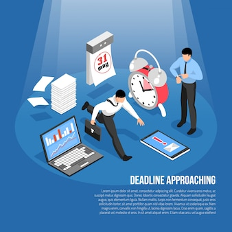 Deadline approaching template with alarm clock calendar laptop and hurrying men 3d