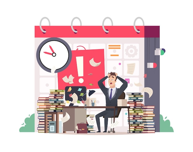Deadline. bad time management, manager in fear. office worker has lot to do  illustration.