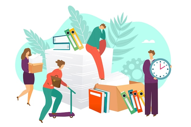 Deadline, business time management concept, vector illustration. man woman character use clock, make paper work. tiny people worker