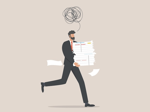 Deadline. businessman character running with a huge pile of documents.