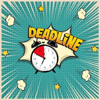 Deadline concept illustration in comic book style alarm clock