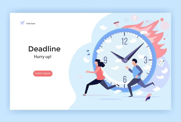 Иллюстрация концепции крайнего срока идеально подходит для целевой страницы мобильного приложения веб-дизайна баннера