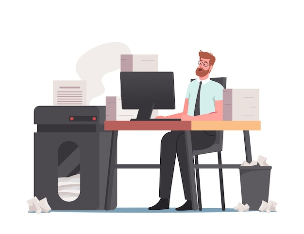Deadline concept. office man with huge heap of documents and paper garbage on desk. employee work in very busy day, accounting bureaucracy, manager job occupation. cartoon people vector illustration
