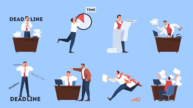 締め切りコンセプトセット。多くの仕事と少ない時間のアイデア。急いでいる従業員。オフィスでパニックとストレス。ビジネス上の問題。漫画のスタイルのイラスト