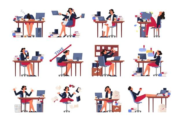 締め切りコンセプトセット。多くの仕事と少ない時間のアイデア。急いでいる従業員。オフィスでパニックとストレス。ビジネス上の問題、マルチタスク。図