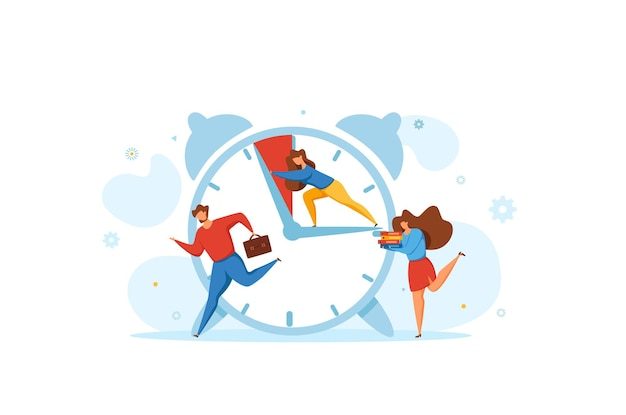 Deadline concept with office teamwork hurrying up in panic.