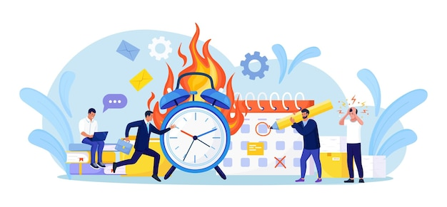 Deadline disruption. office workers working overtime. people in high stress conditions. many work and few time. exhausted, frustrated employee in hurry. panic and acute stress disorder in office