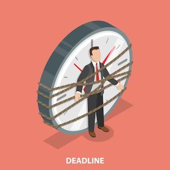 Deadline flat isometric vector concept