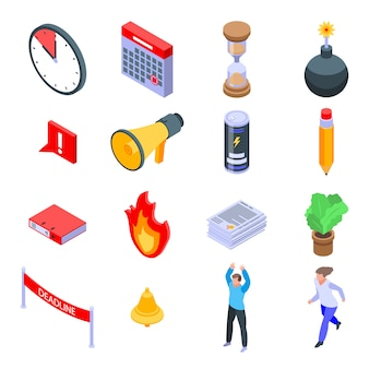 Deadline icons set