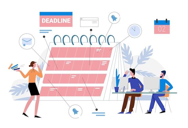 作品イラストの締め切り。漫画のビジネス人々はワークフローを整理し、リマインダープランナーカレンダー、効果的な時間管理、白のマルチタスクの概念に期限を計画します。