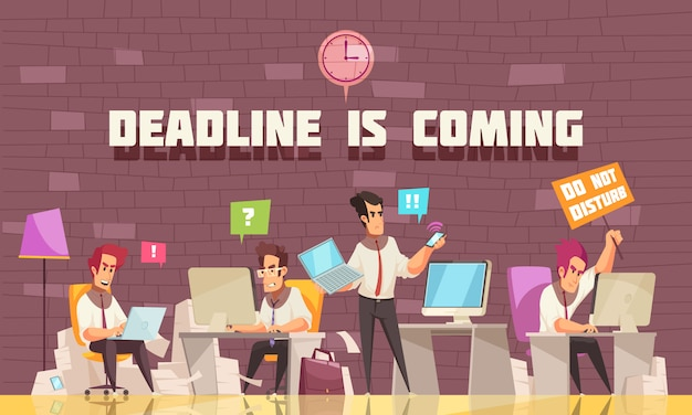 Deadline is coming flat illustration with business people busy with urgent work and brainstorming