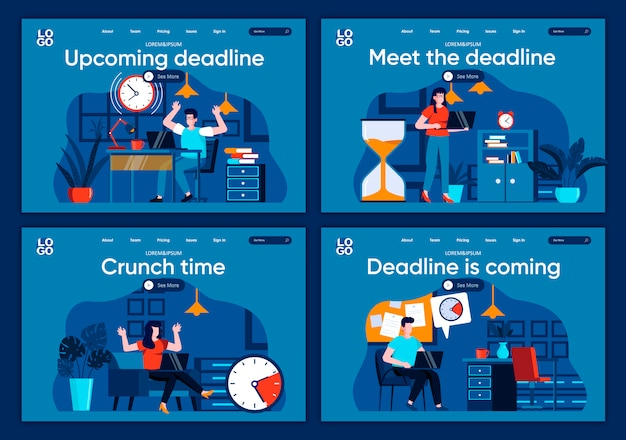 Deadline is coming flat landing pages set. employee in panic, hurrying up with work project scenes for website or cms web page. meet the deadline, crunch time, upcoming deadline illustration