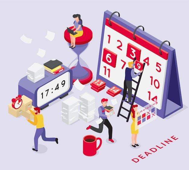 Deadline isometric composition with conceptual images of calendar clocks and running people with text and shadows