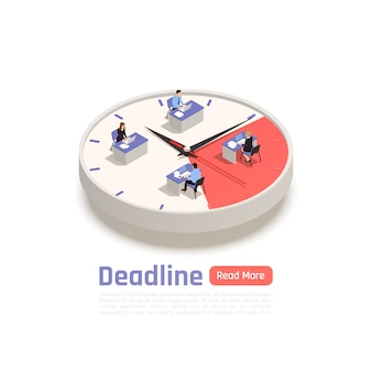 Deadline isometric design concept with team of employees sitting at their desks on big round clock