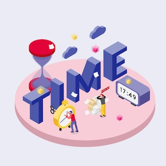 Deadline isometric illustration with time text and alarm clocks with little human characters
