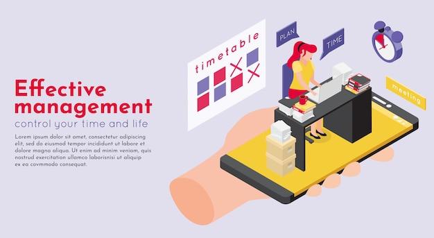 Illustrazione isometrica di scadenza dell'orario dell'area di lavoro e della mano umana