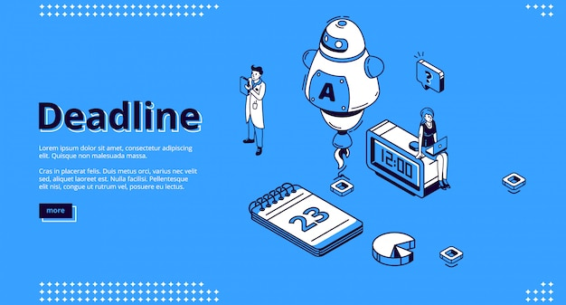 Deadline isometric landing page with ai robot