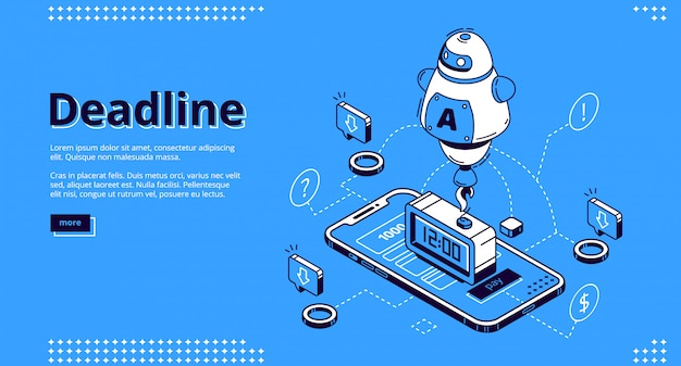 Deadline isometric landing page with mobile phone
