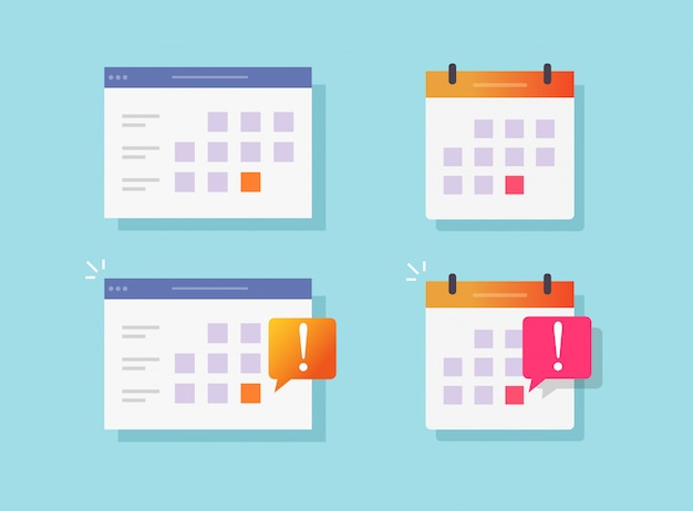 Deadline notification event reminder on calendar or website notice vector flat cartoon icons set