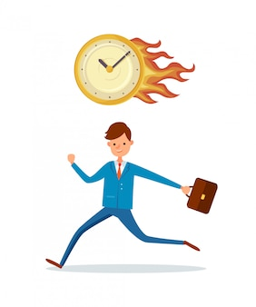 Deadline in office, burning clock hurrying up male