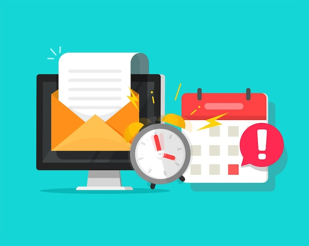 Deadline online task concept notified via calendar alarm notice and email message