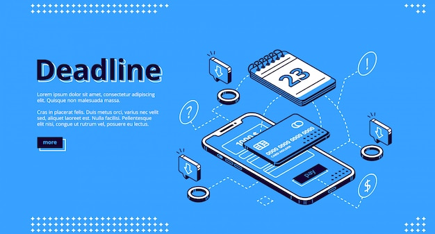 Deadline payment technology isometric web design