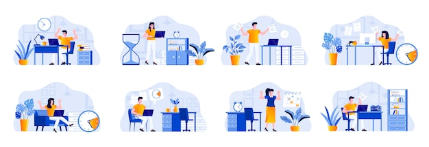 Deadline scenes bundle with people characters. tired employees hurrying up on deadline at workplace, stressful situation and overtime work. time management and effectivity flat illustration.