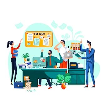 Крайний срок, командная работа и бизнес-концепция мозгового штурма