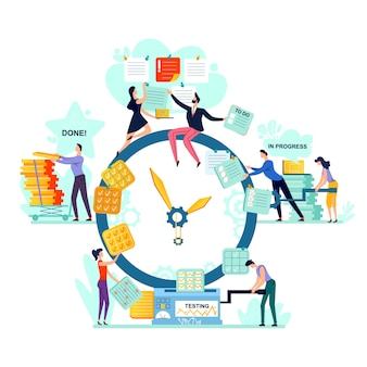 Deadline and time management business concept vector.